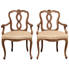 Pair of 19th Century Italian Venetian Walnut Rococo Style Armchairs