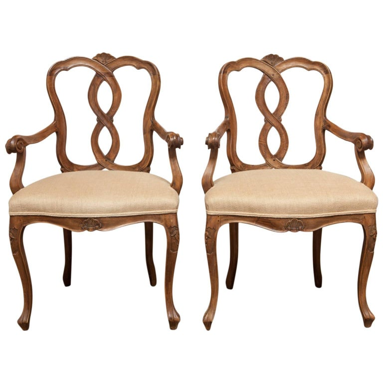 Pair of 19th Century Italian Venetian Walnut Rococo Style Armchairs For Sale