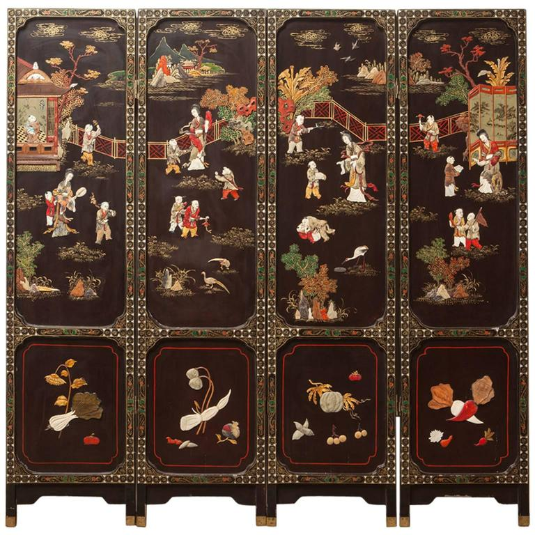 Mother Of Pearl Inlay Wooden Mini Folding Screen Asian: Four-Panel Chinese Lacquered Hard Stone Screen For Sale At