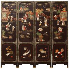 Four-Panel Chinese Lacquered Hard Stone Screen