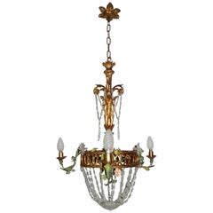 French Giltwood Tole Flowers Crystal Prisms Chandelier