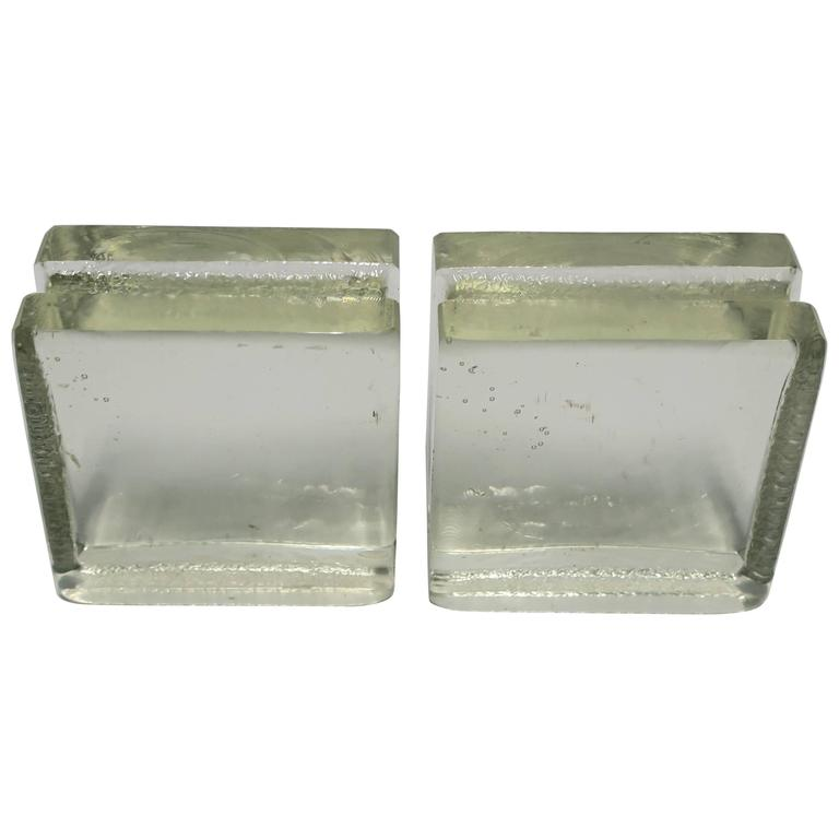 Pair of Modern Solid Glass-Block Bookends