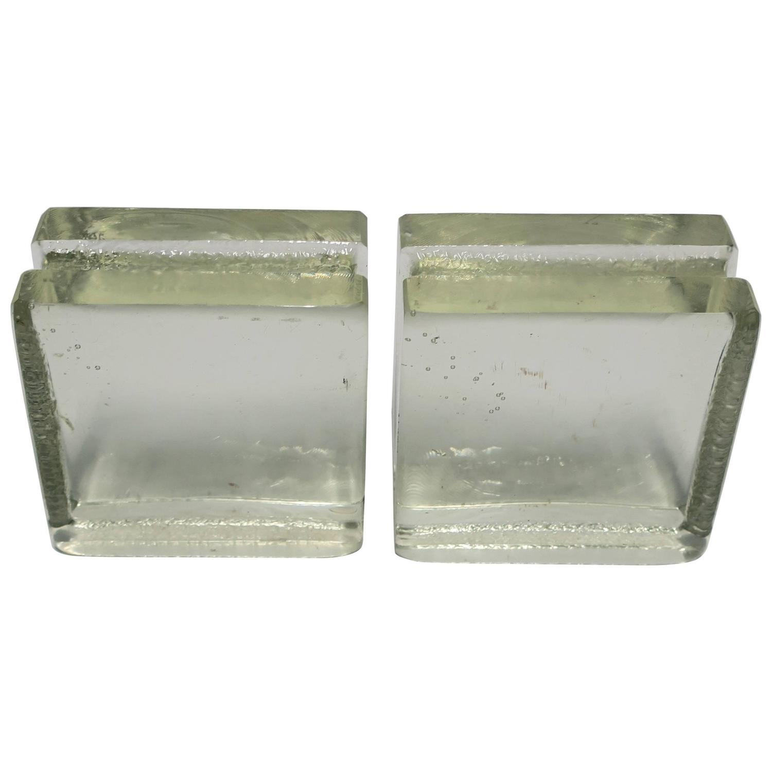 Pair of Modern Solid Glass-Block Bookends For Sale at 1stdibs