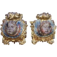 Pair of 17th Century Carved Polychrome and Giltwood Architectural Elements