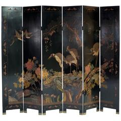 Six-Panel Lacquered Chinese Coromandel Screen