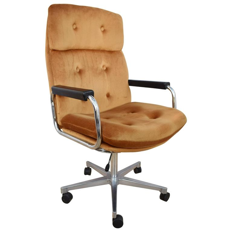Mid Century Retro Danish Metal Swivel Office Desk Chair 1960s 1970s At 1stdibs