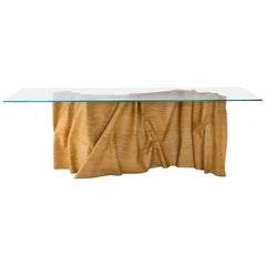 Una 'Articolo Indeterminativo' Curved Wood and Crystal Table