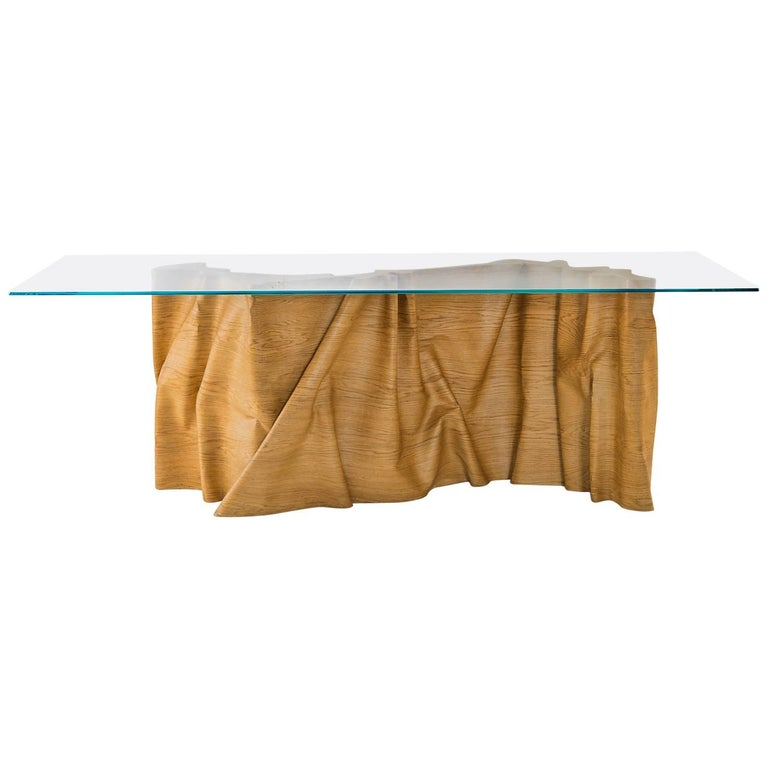 Una 'Articolo Indeterminativo' Curved Wood and Crystal Table For Sale