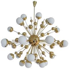 """Huge Brass """"Sputnik"""" Style Chandelier"""