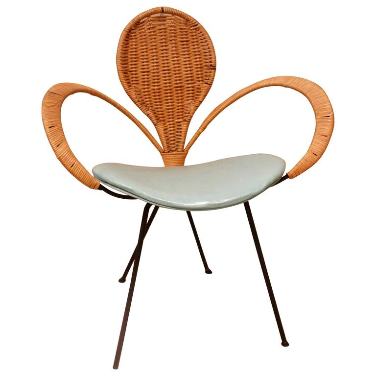 Mid Century Style Rattan Ribbon Chair For Sale at 1stdibs