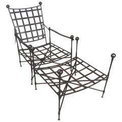 Vintage Iron Reclining Lounge Chair and Ottoman by Papperzini for Salterini