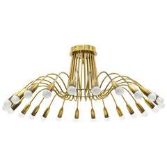 Large Twenty-Four-arm Brass Chandelier, 1940s
