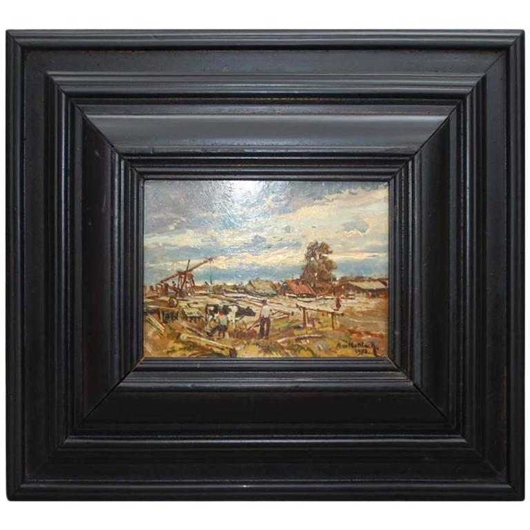 20th Century Oil on Copper Painting by A. de Nottbeck