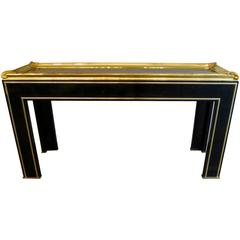 French Black Lacquered and Gilt Brass Console Table