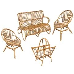 Vintage Set of a French Bamboo Settee with Two Chairs and Magazine Rack
