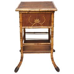 Sweet Bamboo and Rattan Sewing Side Table