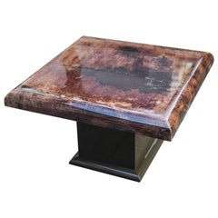 Aldo Tura Brown Square Cocktail Table in Brown Goatskin