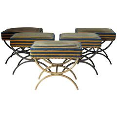 Set of Five Chic Iron and Velvet Stools, France, circa 1940s