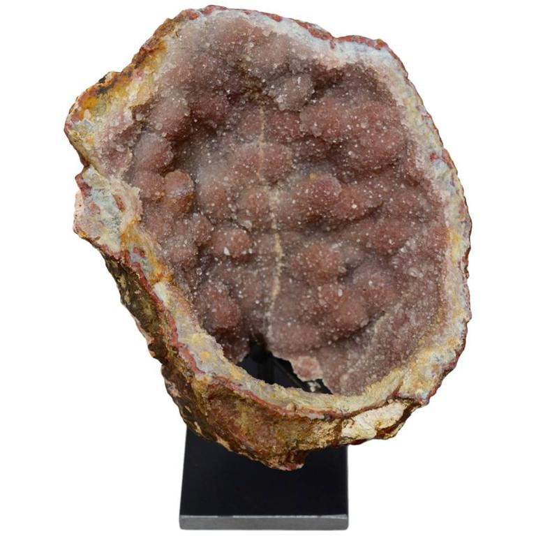 Natural Geode Stone Specimen on Stand