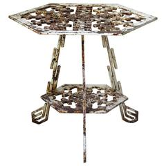 """""""Snowflake"""" Cast Iron Side Table, France, circa 1950s"""
