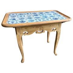 18th Century Dutch Delft Tile-Top Table
