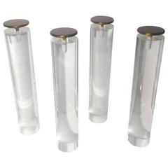 1970s, Lucite Legs Columns with Brass Caps for Coffee Table by Pace Collection