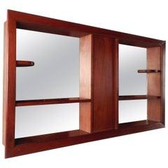 Mid-Century Modern Walnut and Mirrored Shadow Box