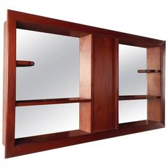 Mid-Century Modern Walnut and Mirrored Shadow Box