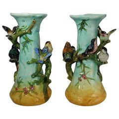 Pair of 19th Century Majolica Birds Vases Massier