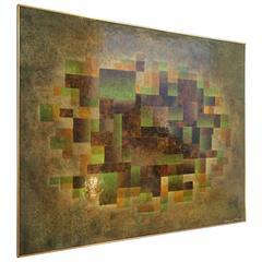 Mid-Century Geometric Oil Painting by Van Gelderen