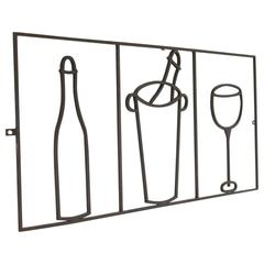 Minimalist Graphic Iron Wall Sculpture with Bar Elements, France, circa 1940s