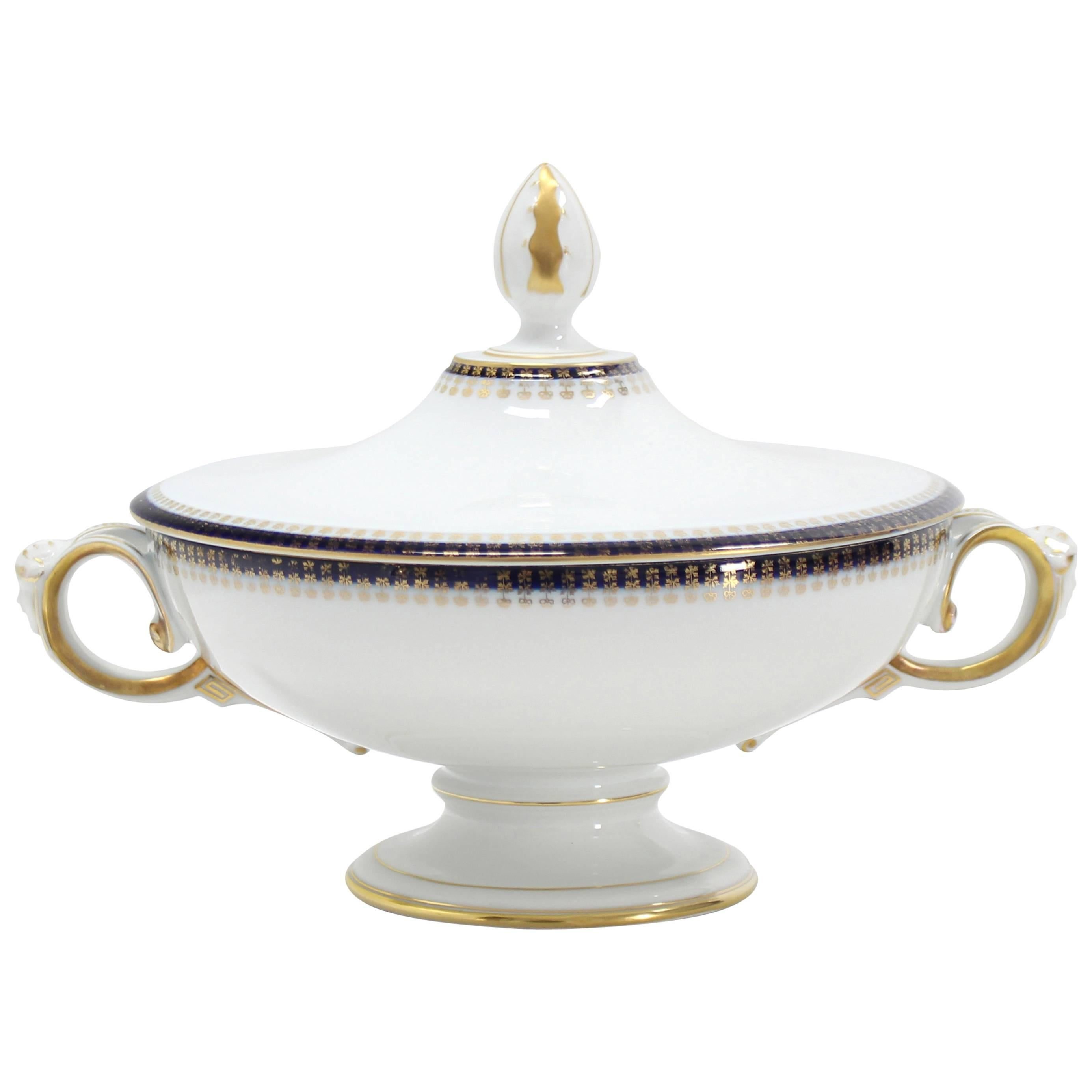 Rosenthal Porcelain Tureen Serving Dish Cobalt and Gold
