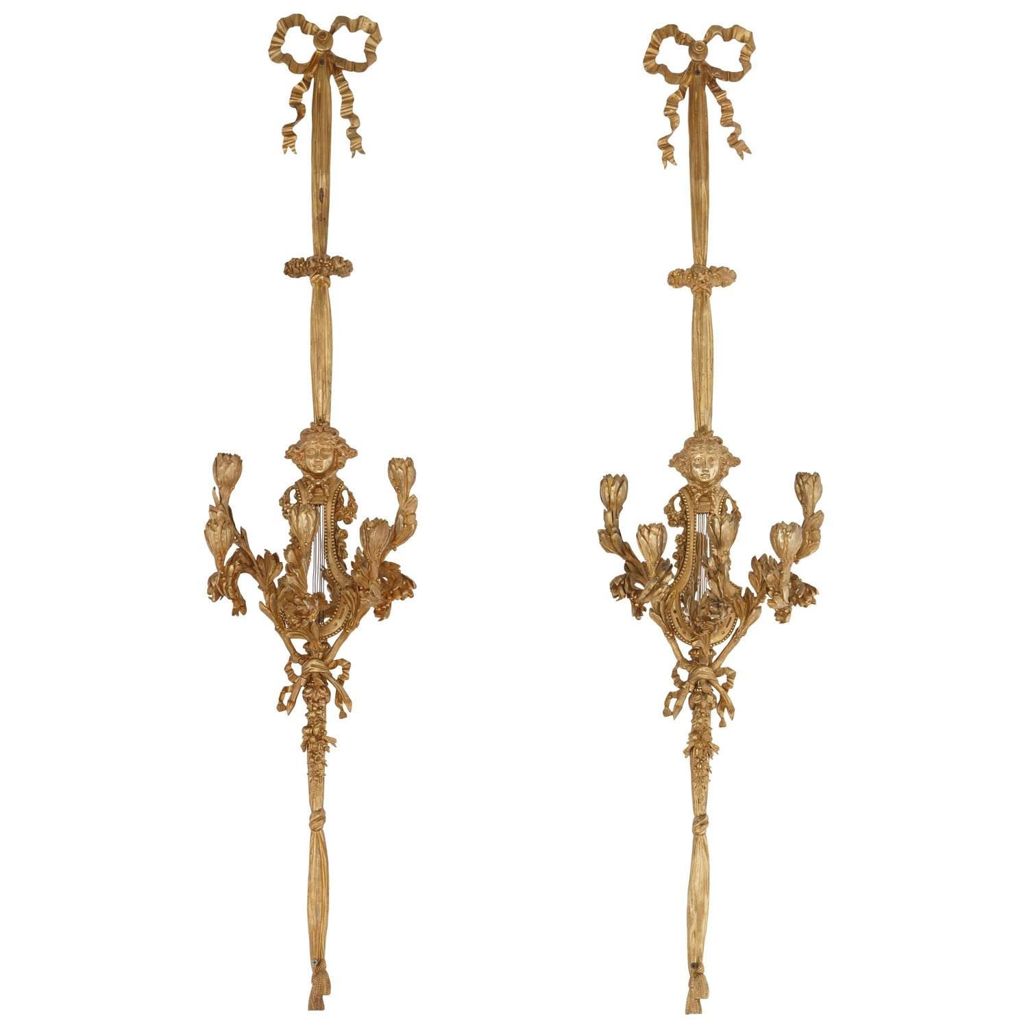Small White Wall Lights : Very Large Pair of Louis XVI Style Ormolu Wall Lights For Sale at 1stdibs