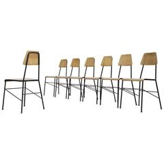 Set of Seven Mid-Century Dining Room Chairs in Black Metal Wire