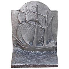 American Cast Iron Sailing Mayflower Doorstop, Circa 1880