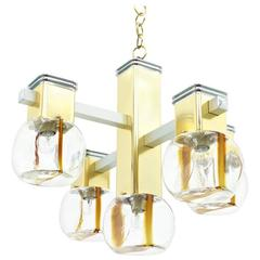 Italian Brass and Glass Chandelier by Lampadari, 1970s