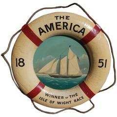 American Nautical Painted Life Ring with Sailing Vessel, America's Cup. Mid 19th