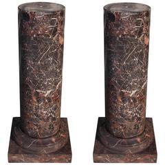Pair of Italian Marble Cylinder Vein Pedestals, Circa 1850