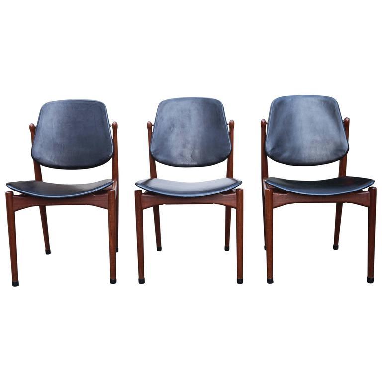 Three Arne Vodder Teak Dining Chairs for France & Dar For Sale