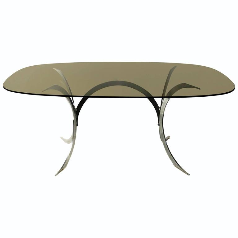 1970s oval dining room table chrome base smoked glass top french for sale at 1stdibs. Black Bedroom Furniture Sets. Home Design Ideas