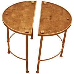 Pair of French Bronze Side Tables Attributed to Baguès