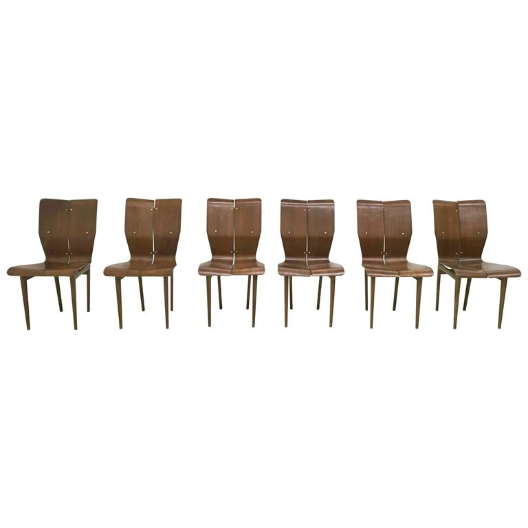 Set of Six Curved Wood Chairs, 1950s