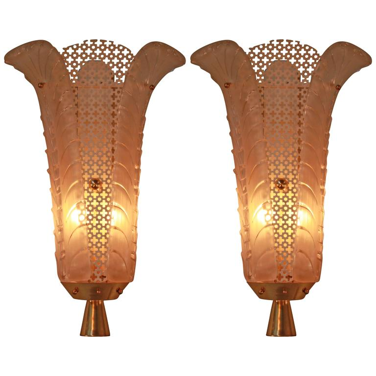 Wall Sconces Art Glass : Pair of French Art Deco Glass Wall Sconces by Ezan For Sale at 1stdibs