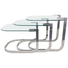 Chrome and Glass Nesting Tables by DIA