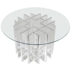 Intricate Lucite Cocktail Table with Round Glass Top