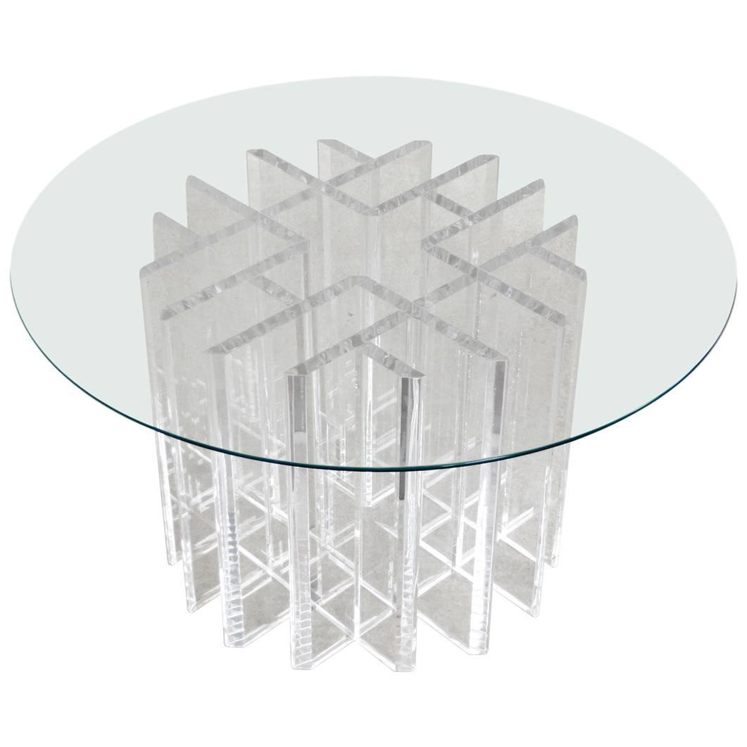 Intricate Lucite Cocktail Table With Round Glass Top For Sale At 1stdibs