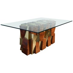 Paul Evans Faceted Cityscape Brass and Wood Dining Table