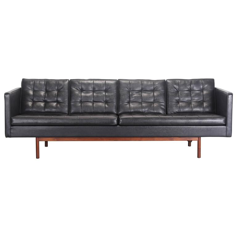 Milo Baughman for Thayer Coggin Black Vinyl Sofa, 1960s 1