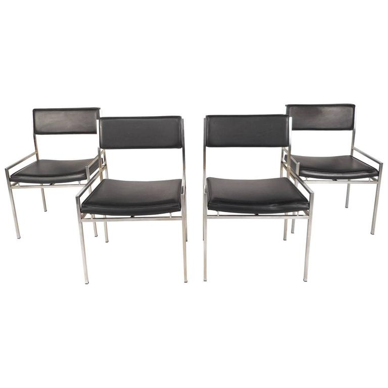 Phenomenal Set Of Mid Century Modern Chrome And Vinyl Dining Chairs Caraccident5 Cool Chair Designs And Ideas Caraccident5Info