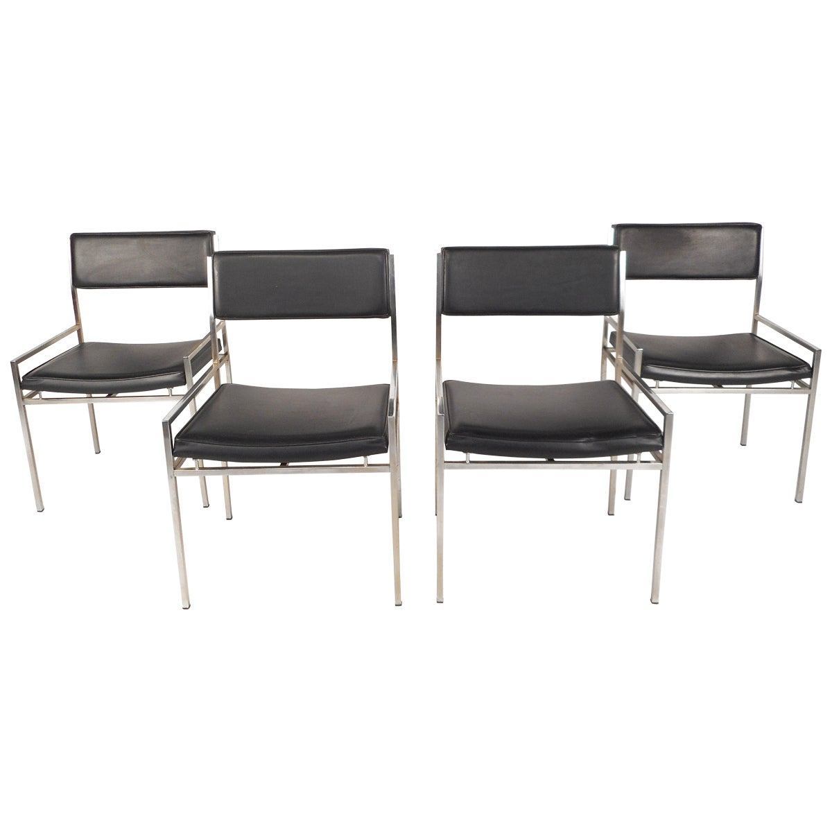 Set of Mid-Century Modern Chrome and Vinyl Dining Chairs
